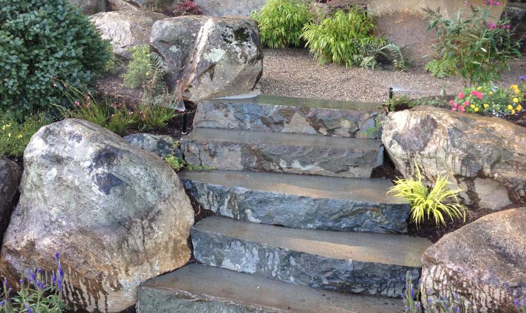 Natural Stone Stairs : Natural stone steps cording landscape design