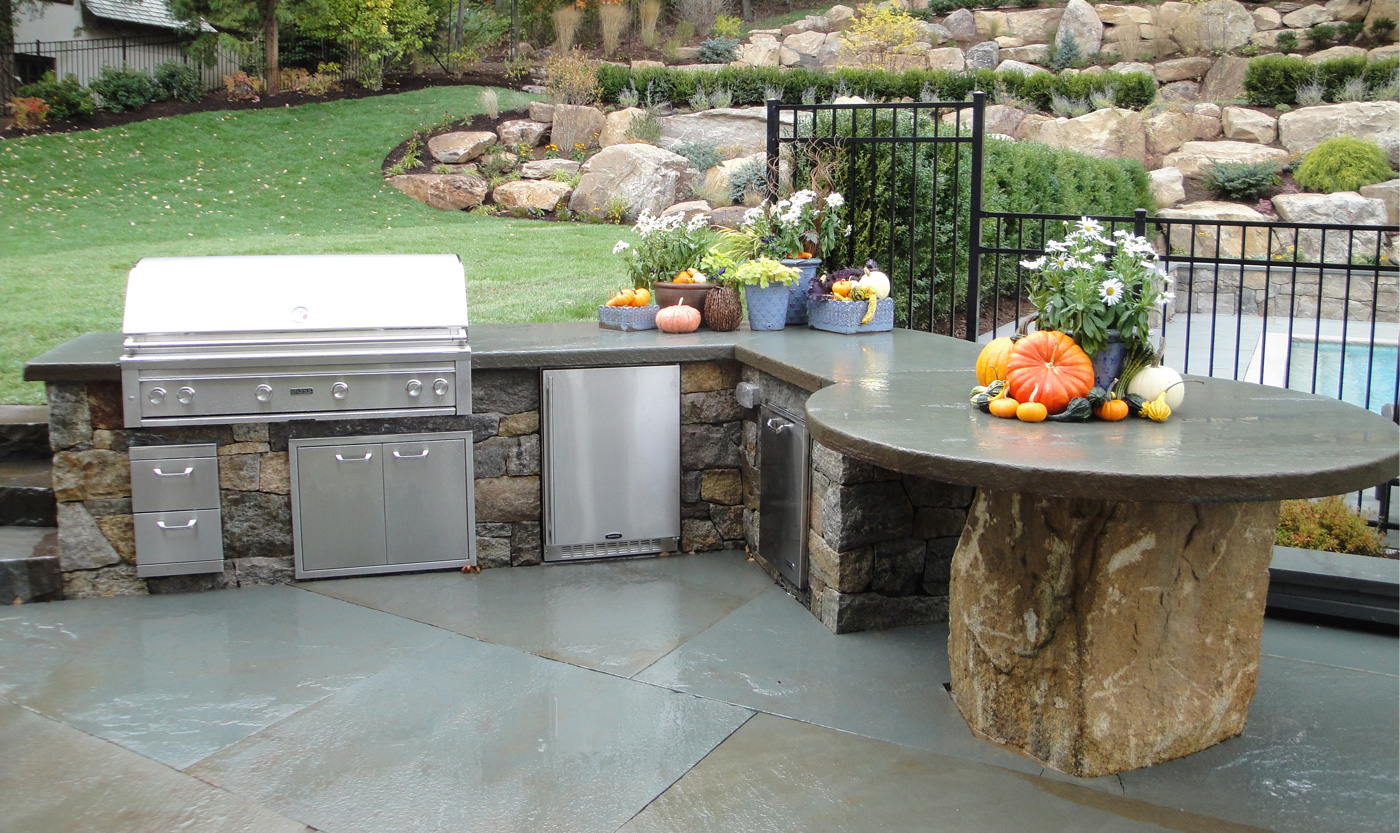 Outdoor kitchens cording landscape design for Outdoor grill island ideas