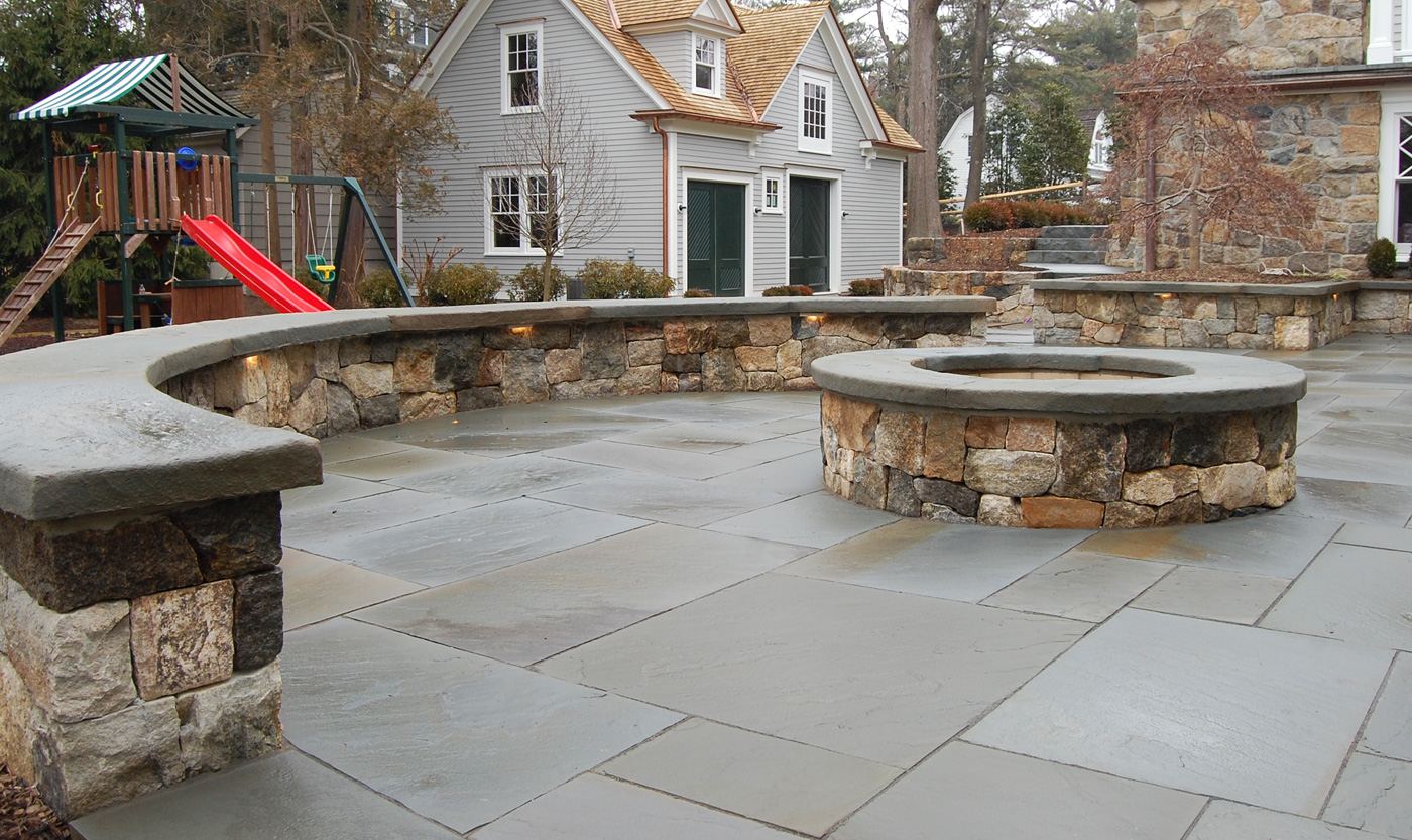 Stone Seat Wall by Cording Landscape Design