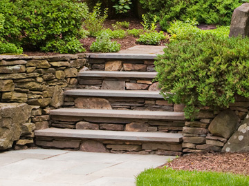 Built Stone Steps Landscaping