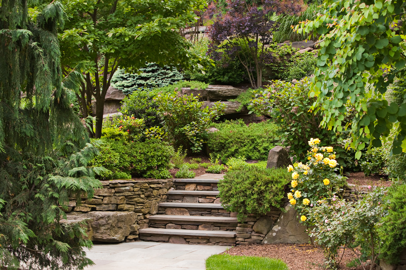 Built stone steps retaining walls natural stone for Natural rock landscaping