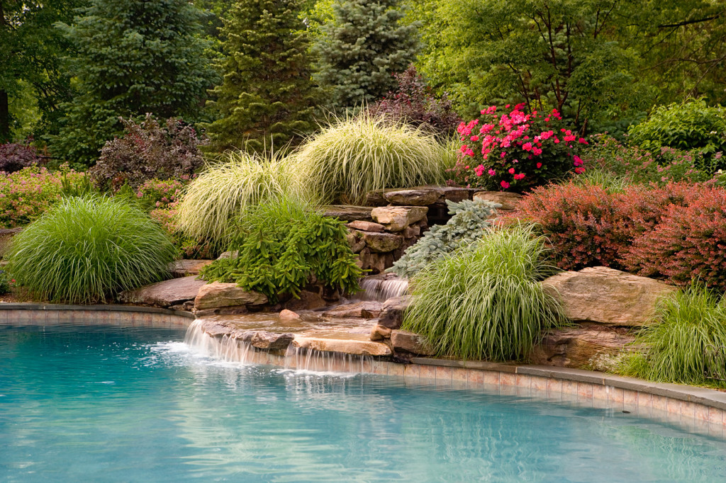 Waterfalls cording landscape design for Pool design inc bordentown nj