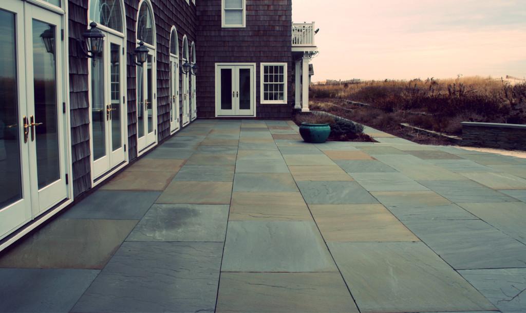 Square cut bluestone patios cording landscape design for Bluestone porch
