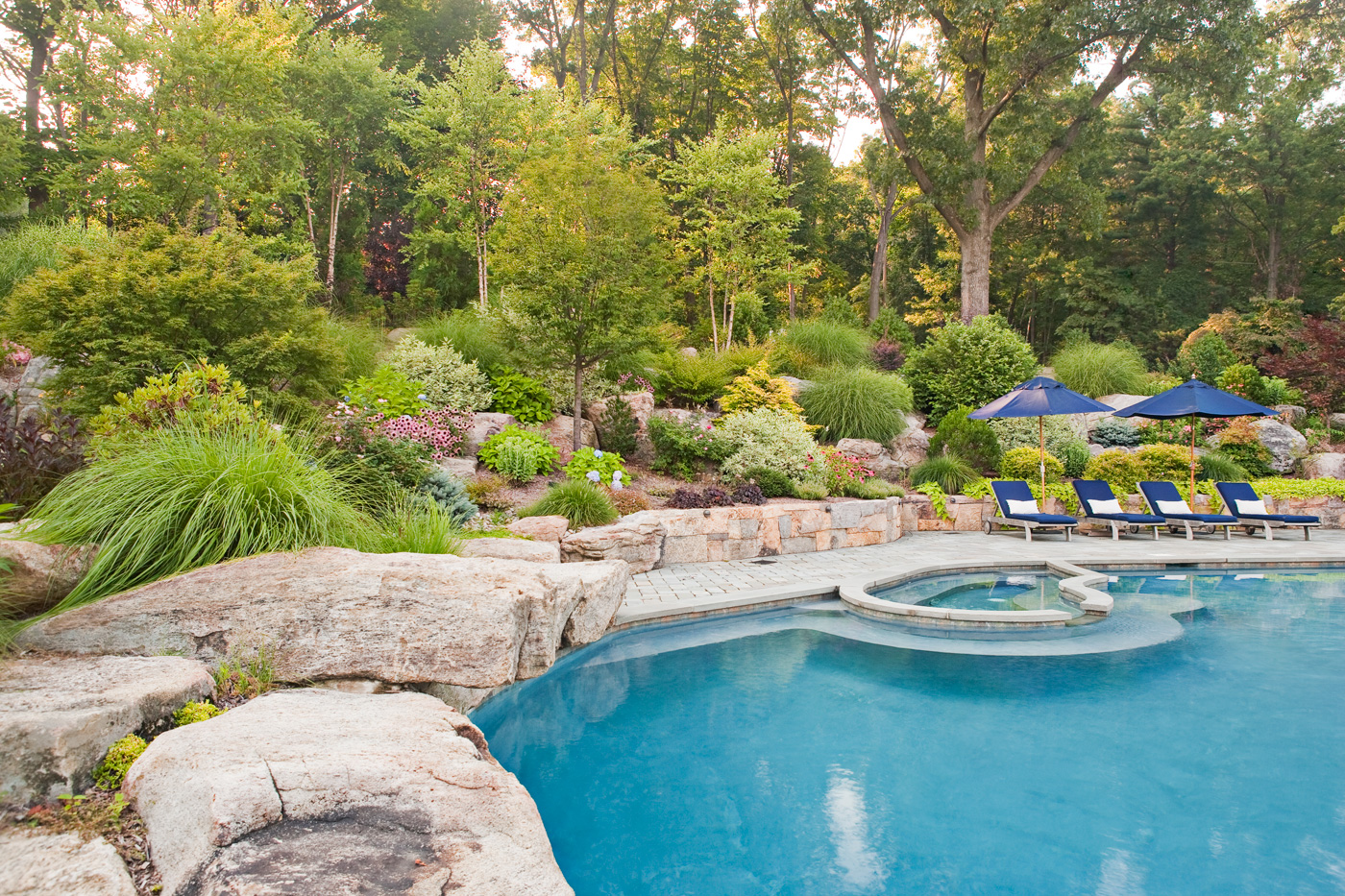 Spa and pool landscaping in nj by cording landscape design for Pool and landscape design