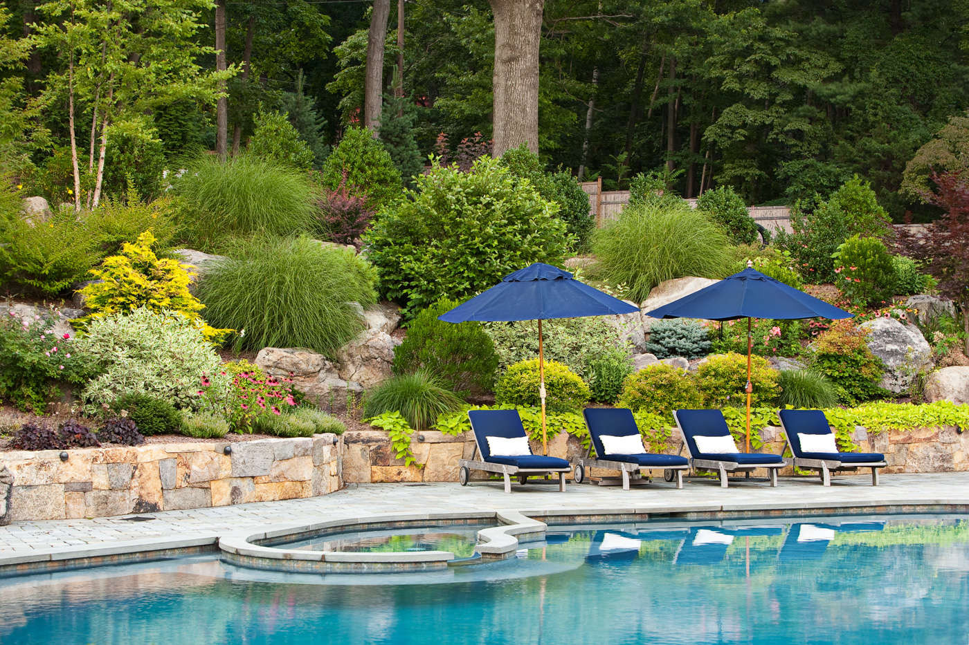 Rock gardens cording landscape design for Pool with garden