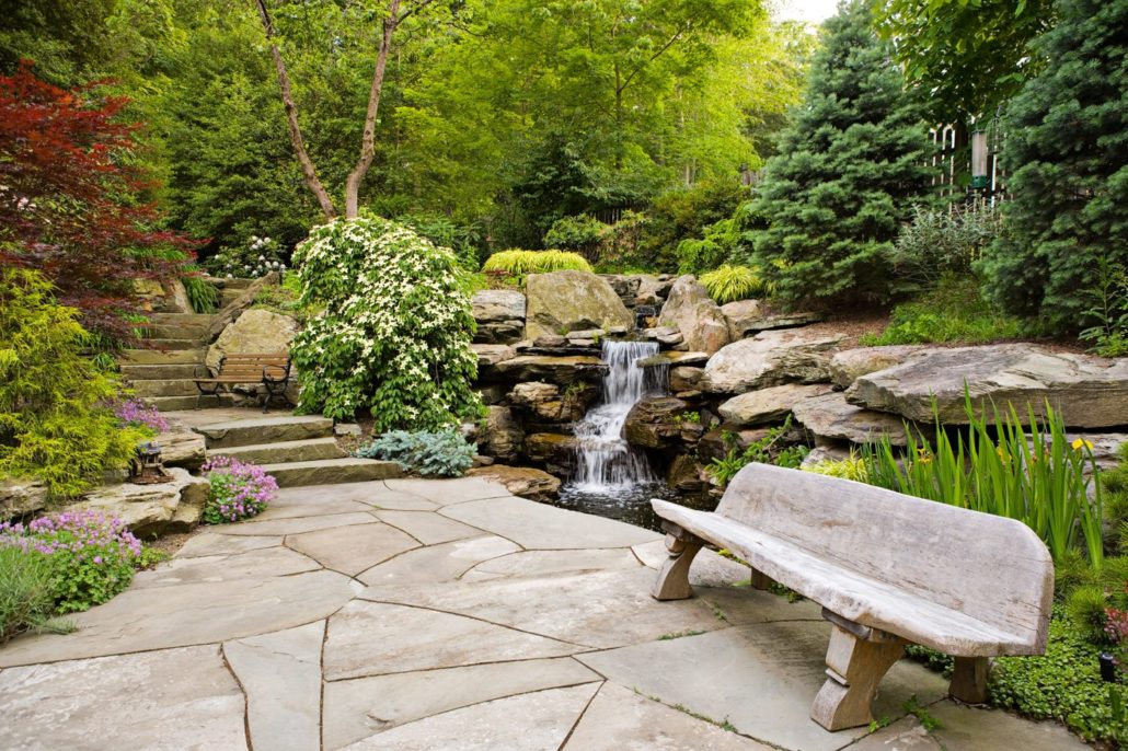 Natural stone patios cording landscape design for Natural landscape design