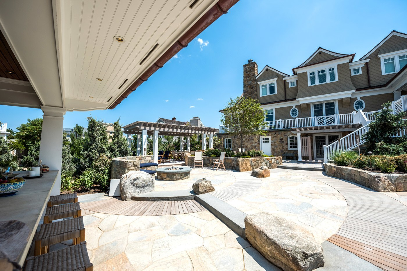 cording landscape design - new jersey landscaping - custom pool patio and poolhouse