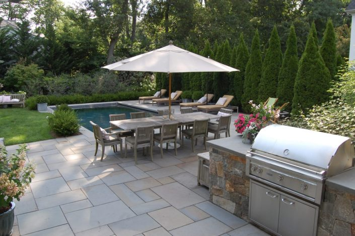 New Jersey Bluestone Patio Landscape Construction by Cording Landscape Design